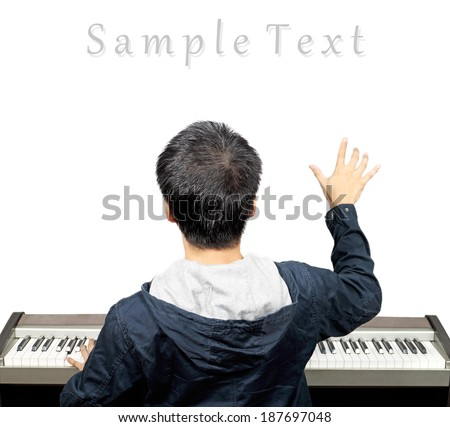 back of musician composing the music note on the imagination , isolated - stock photo