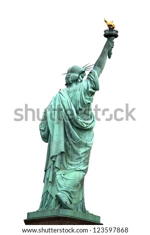 Back of NY Statue of Liberty isolated on white - stock photo