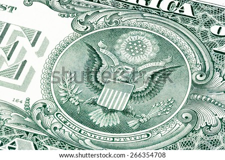 Back of one dollar bill �¢?? photo witch eagle. Stacked macro photo.