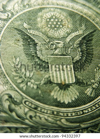 Back of one dollar bill. Selective focus.