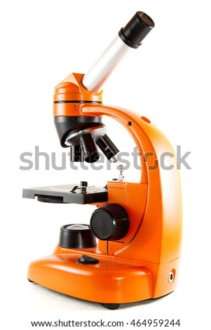 Back of Orange Microscope on White