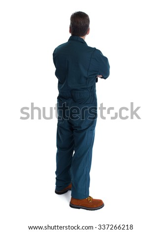 Back of plumber man. Isolated over white background. - stock photo