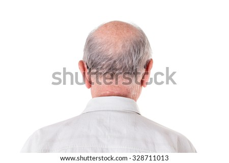 Back of the bald head of old man in shirt. Back view. Isolated on a white background.