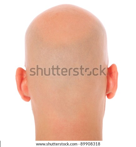 Back of the head of a bald man. All on white background. - stock photo