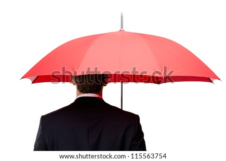Back of the man holding opened red umbrella overhead, isolated on white