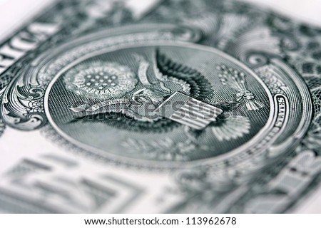 back of the one dollar bill: the pyramid, shallow depth of field - stock photo