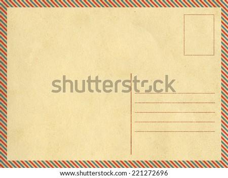 Back Vintage Postcard Stamp Frame Air Stock Photo 221272696