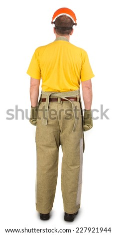 Back of welder in apron. Isolated on a white background. - stock photo