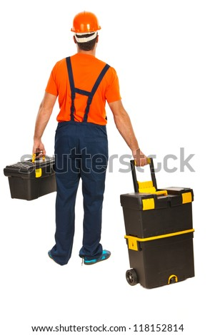 Back of worker man walking and carrying tools  boxes isolated on white background - stock photo