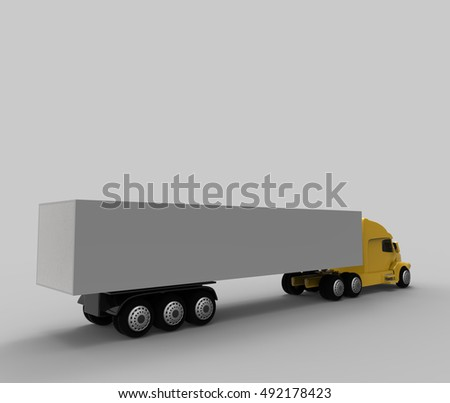 Back of yellow american truck. 3d render