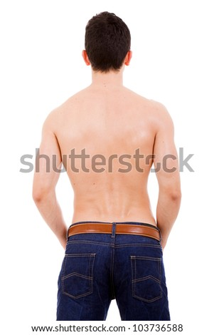 Back of young muscular man, isolated on white - stock photo