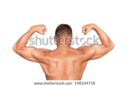 Back of young muscular man, isolated on white