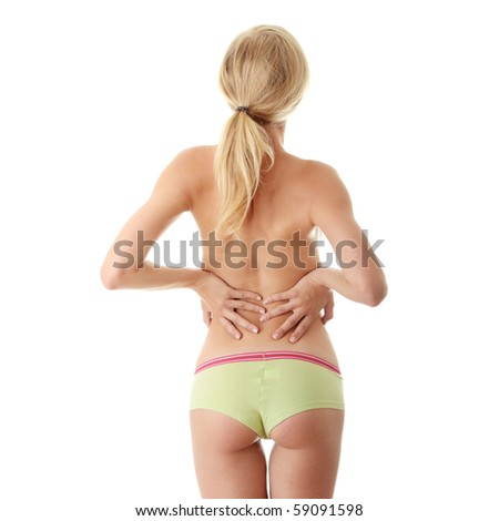 Back pain concept isolated on white - stock photo