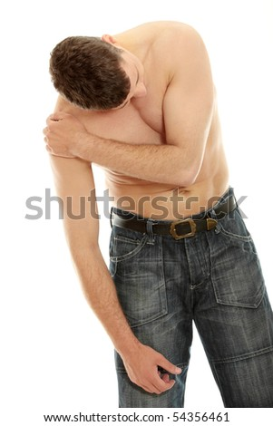 Back pain concept - man isolated on white - stock photo
