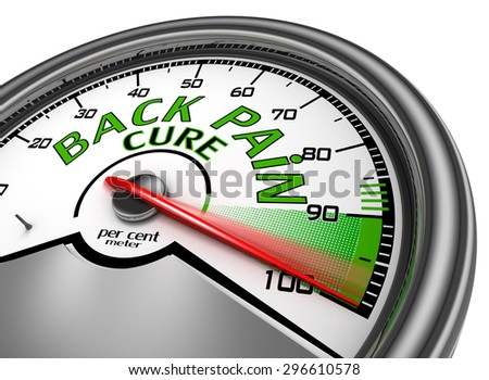 back pain cure conceptual meter indicate maximum, isolated on white background - stock photo