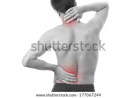 Back pain in men. Touching the neck. - stock photo