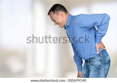 Back, Pain, Physical Injury. - stock photo
