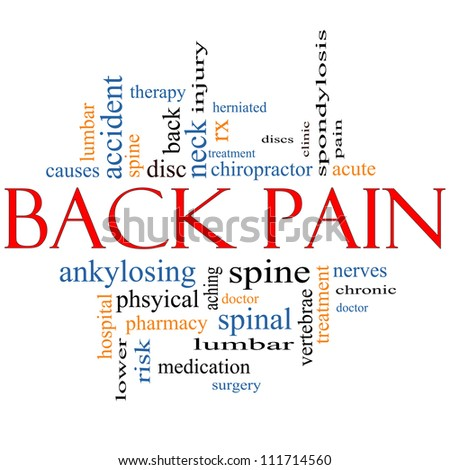 Back Pain Word Cloud Concept with great terms such as injury, lumbar, spine, treatment, discs and more. - stock photo