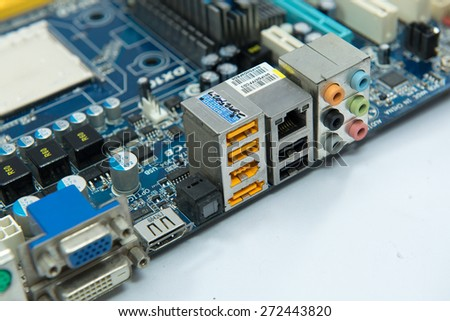 Back panel connectors computer motherboard - stock photo