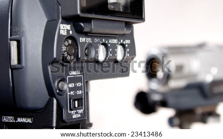 back part of HD camcorder - stock photo