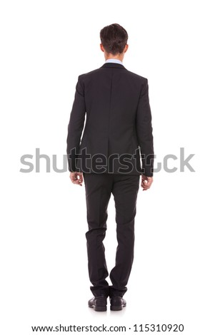 back picture of a business man . Isolated on white background. - stock photo