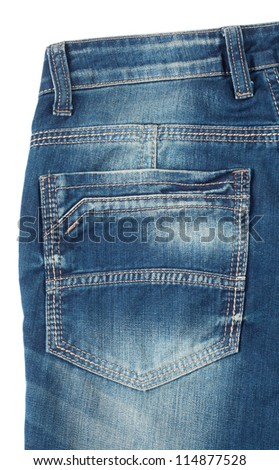 Back pocket of blue jeans isolated on white background - stock photo