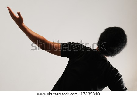 Back Portrait of young african man with open arm