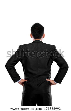 Back pose of a business person thinking. Isolated over white background