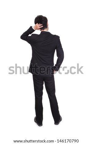 Back pose of a business person thinking. Isolated over white background, full body, asian model