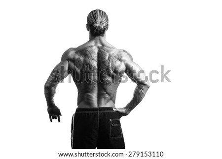 Back Rear View Tattooed Male On Isolated White Background - stock photo