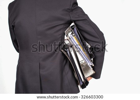 back side busy business man hold many file,Accounting and business concept,isolate image - stock photo