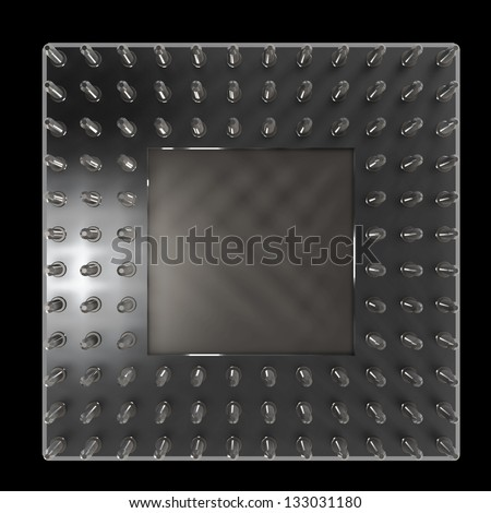 Back side of a CPU card with gold pins isolated on black background. High resolution 3D render - stock photo