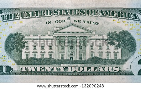 Back side of a 20 dollar bill with White House macro - stock photo