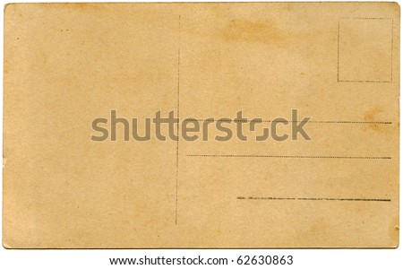 back side of an antique post card isolated on white - stock photo