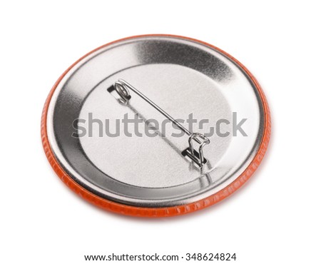 Back side of button pin badge isolated on white - stock photo