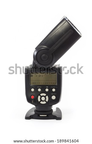 Back side of camera flash light isolate on white background - stock photo