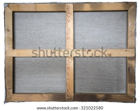 back side of clear artistic canvas on wooden frame - stock photo