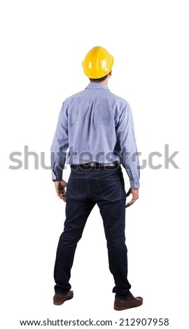 Back side of engineer stand with isolated background - stock photo