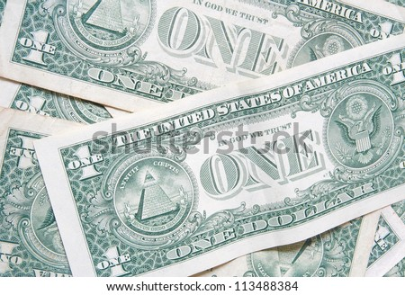 back side of one dollar bills background - stock photo