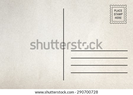 Back side of postcard - stock photo