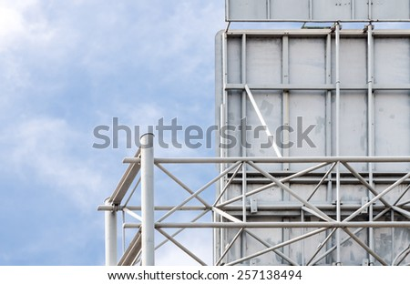 Back side of steel billboard on the expressway in city. - stock photo