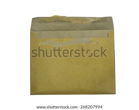 Back side, retro brown blank used envelope, isolated on white background - stock photo