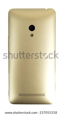 back smart phone with golden case cover and camera led flashlight isolated - stock photo