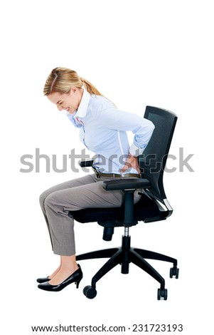 Back tension pain from office chair posture isolated on white background
