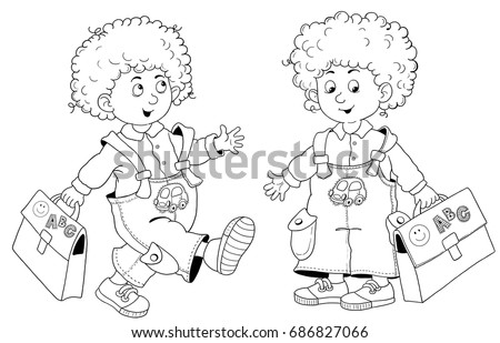 Back School Cute Boy Curly Hair Stock Illustration 686827066 ...