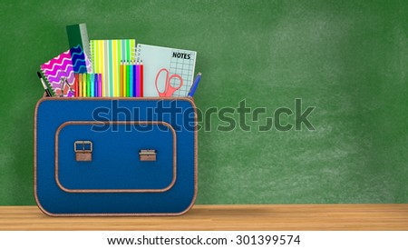 Back to school. A vintage backpack full of school supplies in front of a green blackboard into a classroom.Copy space available.