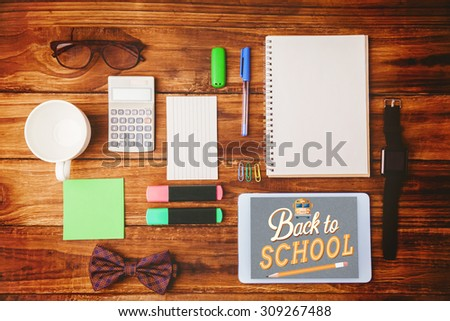 back to school against a differents objetcs for working - stock photo