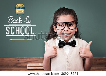 back to school against cute pupil dressed up as teacher in classroom - stock photo