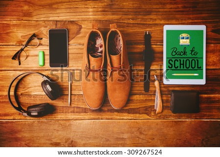 back to school against differents objects using every days - stock photo