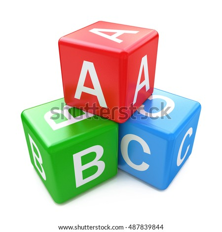 Back to school and education concept: ABC color glossy cubes with letters isolated on white background. 3d illustration